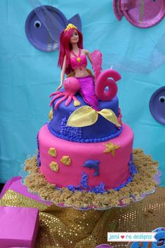 Amazing cake at a mermaid birthday party! See more party ideas at CatchMyParty.com!