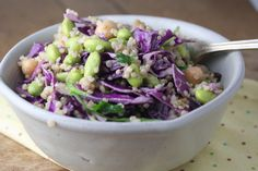 edamame and cabbage salad with soy-lemon-tahini vinaigrette - Dishing Up the Dirt Red Cabbage Salad, Healthy Snacks, Healthy Eating, Garbanzo Bean, Edamame Beans, Easy To Make Dinners, Salad Wraps, Asparagus Salad, Lemon Vinaigrette