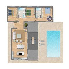 I like the idea Pool House Plans, Small House Floor Plans, House Layout Plans, Dream House Plans, Modern House Plans, House Layouts, Building A Container Home, Container House Plans, Small Villa