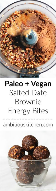 You're only 6 ingredients away from these salted date brownie energy bites. They taste just like a chewy fudge brownie. Roll them in nuts or coconut for a 'truffle' version. You're only 6 ingred Best Vegan Recipes, Raw Food Recipes, Snack Recipes, Cooking Recipes, Paleo Sweets, Healthy Desserts, Paleo Dessert, Healthy Baking, Healthy Treats
