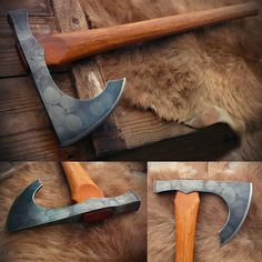 Finished my two lugged-one hand viking axe. Cool Knives, Knives And Swords, Diy Forge, Forging Knives, Axe Sheath, Knife Template, Viking Axe, Beil, Battle Axe