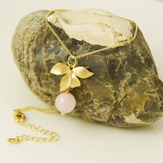 Rose Quartz Necklace Gold Flower Necklace Orchid Necklace Rose