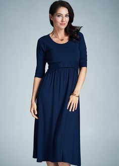 Milky Way - Voyage Nursing Midi Dress in Navy
