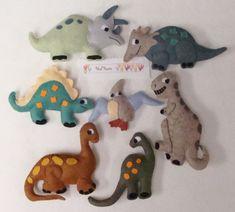 Dinosaurs PDF pattern -Hand Applique Stitch and Stuff Wool Felt