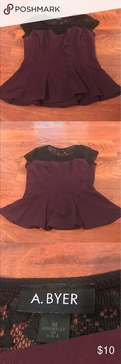 Eggplant Peplum Top with Lace Detail Flattering peplum Top with black lace detail and Deep purple body Amy Byer Tops Blouses