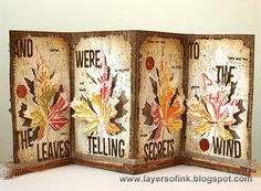 Layers of ink - Fall Accordion Tutorial using Tim Holtz layered leaf die and texture fade combo; Sept 2014