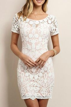 703cd05241 Command the attention of every party guest in attendance by arriving in  this white lace dress! Rows of crocheted flowers cascade down the  formfitting bodice ...