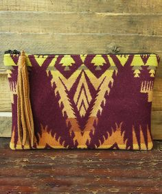 Plum and Tan Wool Clutch