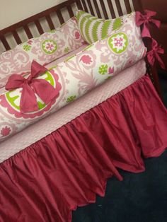 YOU DESIGN Custom 3 piece Crib Bedding Set - Bumper, Skirt and Sheet  Pink and Green with Silk Skirt and Bows