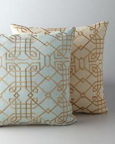 art deco bedding | ... Pillow - Neiman Marcus - art deco blue pillow, art deco gold pillow