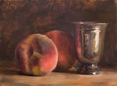Julian Merrow-Smith, Still life with peaches and silver cup.