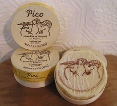 Pico Affine, Picandine This goat camembert-style cheese is soft-ripened and creamy with a custard-soft interior and fruity yet nutty flavor.  It presents itself  in a small wooden box which echoes its thin rind.  Perfect for your cheese plate or for a sophisticated snack.  No need to share.