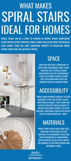 Spiral stairs can provide many advantages over traditional form of stairs. Some such advantages include space, accessibility, materials, etc. Additionally, homeowners can consider spiral stairs for their aesthetic appeal.