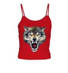Camiseta Wolf Techy Art Chica, tirantes, rojo  15,90 €