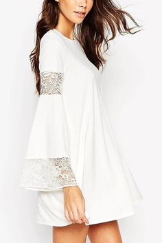 White Boho Swing Dress with Long Sleeve And Lace Inserts  -YOINS