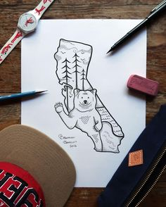 Missing all my friends and family in California.  ___________ #art #drawing #artist #inktober #sketch #artistic #sketchbook #illustration #design #draw #instaart #california #pen #doodle #midwest #illistration #create #artists #bear #ink #creative #artwork #illustrator #instaartist #pencil #designers #graphic #designer #inktober2016 #kuretakeinktober2016