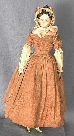 Composition doll, woman, brown dress, flower-trimmed bonnet, Germany, 1845-1850