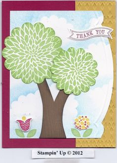 Stampin' Up! Betsy's Blossoms. Love how they used the flower to make a tree!