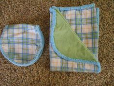 Hem Stitch Unisex Baby - Blue and Green Plaid Flannel Receiving Blanket and Burp Cloth by TheRedGeranium on Etsy