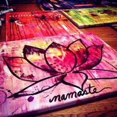 17 Ideas For Yoga Art Painting Inspiration Namaste Yoga Painting, Lotus Painting, Diy Painting, Painting & Drawing, Painting Abstract, Lotus Flower Art, Lotus Flower Paintings, Lotus Art, Buddha Art