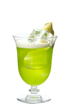 Coconut rum, Midori, and pineapple juice over ice.