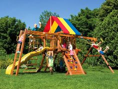 My husband and I have been looking for ways to improve our yard and make it more entertaining for our kids. We'd like to get them outside and more active so they can stay healthy. This play set looks like it would be a lot of fun, and I think they would spend a lot of time out there.