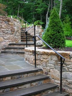Custom exterior railings, fencing & gates for the front steps Porch Handrails, Exterior Stair Railing, Outdoor Stair Railing, Wood Railings For Stairs, Patio Stairs, Wrought Iron Stair Railing, Stone Stairs, Garden Stairs, Railing Ideas