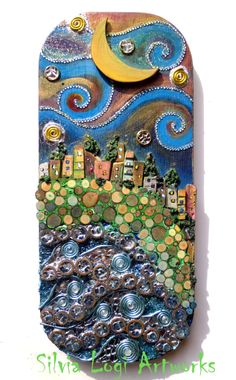 #seascape in #wood and mixed media #mosaic, see more on FB https://www.facebook.com/pages/Silvia-Logi-Artworks/121475337893535?ref=br_rs