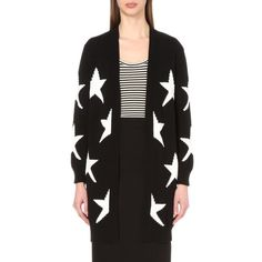 MAX MARA Star-pattern open-front knitted cardigan (€600) ❤ liked on Polyvore featuring tops, cardigans, black, open front cardigan, long sleeve cotton tops, cotton cardigan, open front tops and long sleeve cardigan
