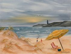Watercolor Paintings - Art by Derek McCrea: beach oil painting