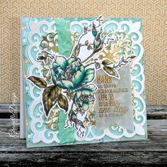 Graciellie Design: Graciellie Design Blog Hop & Giveaway - Heat embossing Digital Stamps, encouragement cards, vintage roses, gold and mint, spectrum noir markers, Spellbinders dies