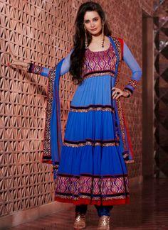 Vibrant Blue #Faux #Georgette Churidar Suit