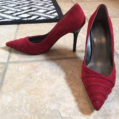 Marc Fischer red suede pumps Cute little pair of fancy red heels ❤️❤️ Pointed toe. Great for Valentine's Day or to spice up an outfit. Looks great with all black outfit and gold jewelry. Worn mildly but bottoms scuffed. Heels in good condition. Gorgeous suede. Marc Fisher Shoes Heels