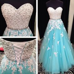 Long Puffy Blue Princess Prom Dress Real Photo Pearls Beaded Top White Applique vestido de formatura longo Imported Party Dress CS665