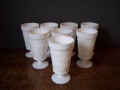 Milk Glass Set of 8 Stemmed Goblets Harvest by SherwoodVintage, $35.00