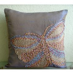 Colorful Butterfly - Throw Pillow Covers - 20x20 Inches Silk Pillow Cover Embroidered with Jute Cord