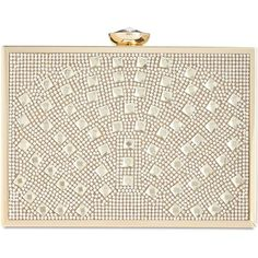 Inc International Concepts Large Clutch, ($70) ❤ liked on Polyvore featuring bags, handbags, clutches, gold, embellished purses, glitter purse, embellished handbags, white purse and white handbags