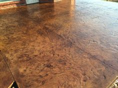 Slate Stamped Concrete (Seamless), Stained Concrete with Black and Tan stain, Concrete Sealer. Stain Concrete, Concrete Finishes, Stamped Concrete, Slate, Overlays, Hardwood Floors, House Ideas, Deck, Exterior