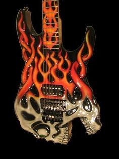 Skull with flames guitar