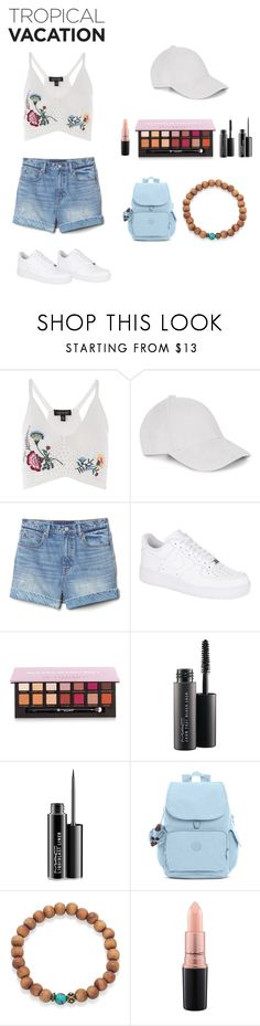 """""""Tropical Vacation: Hot Days in Hawaii"""" by super-soph ❤ liked on Polyvore featuring Topshop, Le Amonie, Gap, NIKE, Anastasia Beverly Hills, MAC Cosmetics and Kipling"""