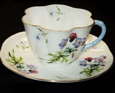 Shelley Potter Blue Wild Flower fluted tea cup and saucer