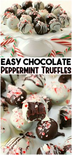 Homemade Dark Chocolate Peppermint Truffles made with just 5 ingredients and SO incredibly delicious Perfect for Christmas treat plates holiday gift giving from BUTTER W. Homemade Truffles, Homemade Candies, Lemon Truffles, Coconut Truffles, Oreo Truffles, Peppermint Truffle Recipe, Peppermint Candy, Christmas Truffles, Christmas Chocolate