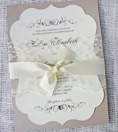 Vintage Elegant Lace Wedding Invitation, Die-Cut Fraem with Lace, Wedding Invitation Sample