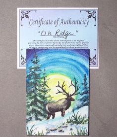 Original ACEO Elk Winter Snow Forest Wildlife Miniature Watercolor Reinecke COA #Miniature