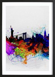 New York  Watercolor Skyline 1 VON Naxart now on JUNIQE!