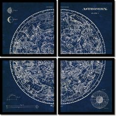 Susan Schlabach 'Celestial Blueprint Quad- set of 4' Framed Art Print 19 x 19-inch Each - Overstock™ Shopping - Top Rated Prints