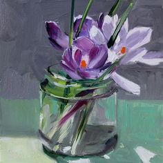"Daily Paintworks - ""Glass Jar and Crocuses"" - Original Fine Art for Sale - © Gretchen Hancock"