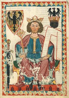 Codex Manesse, fol. 6r, Henry VI., Holy Roman Emperor, c. 1300.  ~The Codex Manesse, Manesse Codex, or Große Heidelberger Liederhandschrift[1] is a Liederhandschrift (medieval songbook), the single most comprehensive source of Middle High German Minnesang poetry, written and illustrated between ca. 1304 when the main part was completed, and ca. 1340 with the addenda.~