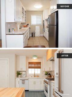 White Shaker Kitchen Cabinets, Kitchen Cabinet Kings, House Seasons, Minimal Kitchen, Home Decor Kitchen, Kitchen Flooring, Home Renovation, Kitchen Remodel, Jasmine