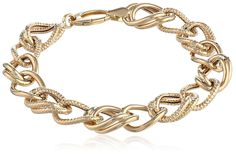 """14k Yellow Gold Mixed-Texture Link Bracelet, 7.5"""". Bracelet in 14k yellow gold featuring large-scale polished and textured links. Lobster-claw clasp. Imported."""